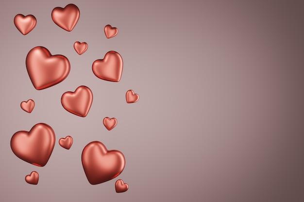 Cuori rossi lucidi su uno sfondo rosa pastello.