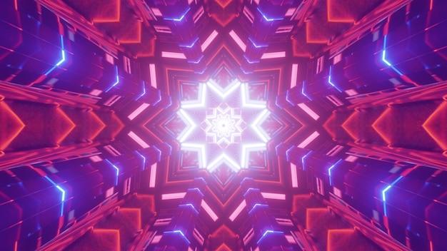 Incandescente illustrazione 3d sfondo astratto con illusione ottica geometrica con luci al neon a forma di stella all'interno del tunnel futuristico