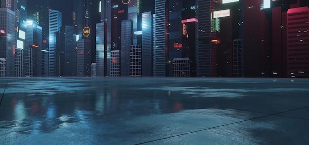 Insegne pubblicitarie e cartelloni pubblicitari incandescenti in città con riflessi di luce sulla superficie stradale bagnata
