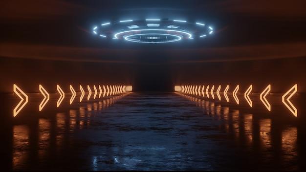 Percorso al neon della freccia incandescente sul pavimento di riflessione