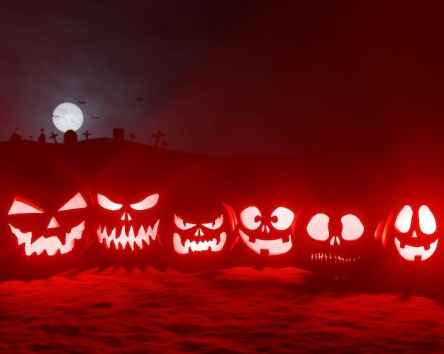 Incandescente zucche di halloween al cimitero 3d render
