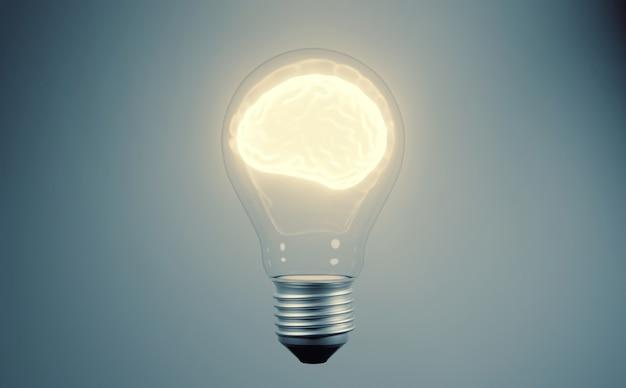 Cervello umano incandescente nella lampadina
