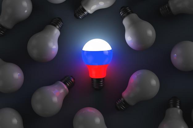 Lampadina incandescente con simboli russi. illustrazione astratta su temi politici