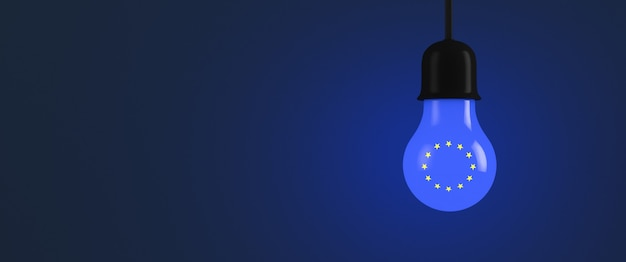 Lampadina incandescente con i simboli dell'unione europea. copia spazio.