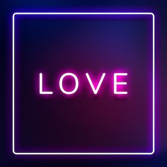 Tipografia al neon amore incandescente