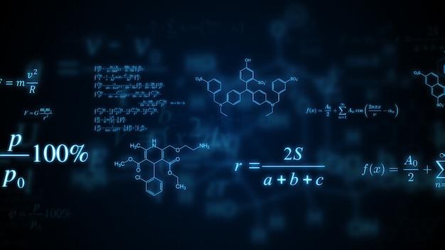Formule matematiche, fisiche e chimiche incandescenti.