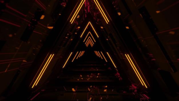 Linee laser al neon incandescenti con sfondo nero, aspetto moderno, foto gratis, rendering 3d.