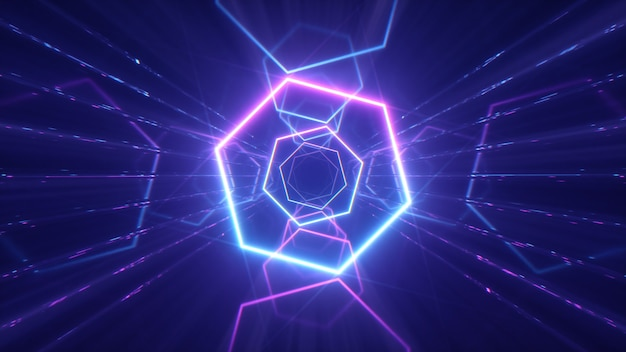 Linee luminose al neon che creano un tunnel