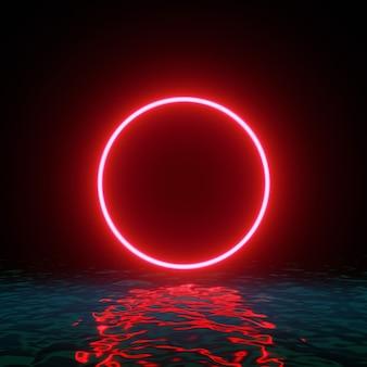 Linea di anello cerchio rosso al neon incandescente con riflessi sull'acqua, luci, onde astratte sfondo vintage