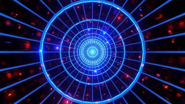Tunnel al neon incandescente con sfondo 3d di luci incandescenti