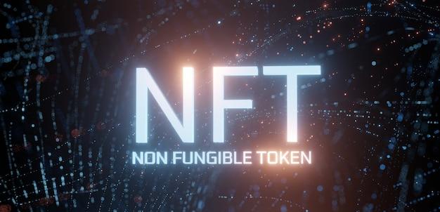 Testo di token non fungibile nft incandescente su sfondo di punti ondulati digitali astratti