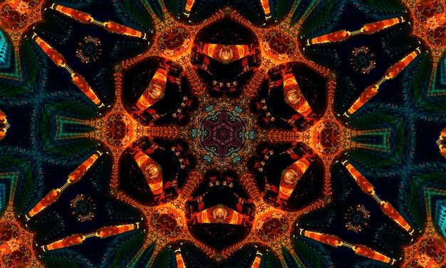 Stella arancione incandescente su sfondo di giada. forma magica. modello caledoscopio per la produzione di imballaggi, scrapbooking, confezioni regalo, libri, libretti, album.