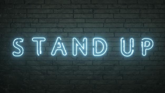 Emblema di stand up incandescente sul fondo del muro di mattoni neri. rendering 3d.