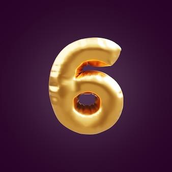 Illustrazione dell'oro 3d numero sei. 3d numero 6 lamina d'oro illustrazione palloncino. illustrazione 3d numero d'oro 6