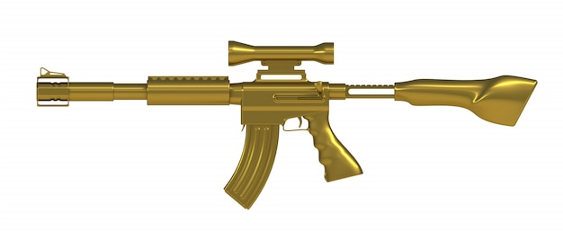 Fucile automatico oro su bianco