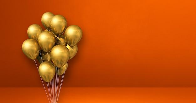 Mazzo di palloncini d'oro sul fondo della parete arancione. bandiera orizzontale. rendering di illustrazione 3d