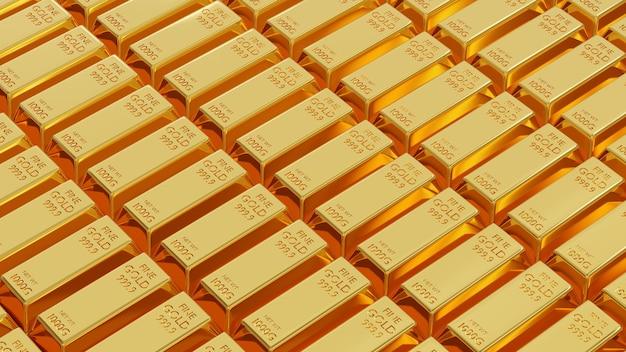 Lingotto d'oro o lingotto di mattoni d'oro fine peso di lingotti d'oro 1 kg 3d rendering illustrazione