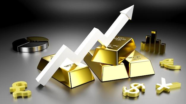 Lingotto d'oro e moneta d'oro per affari., rendering 3d.