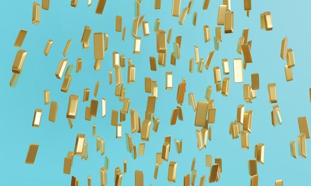 I lingotti d'oro stanno cadendo rendering 3d di sfondo blu