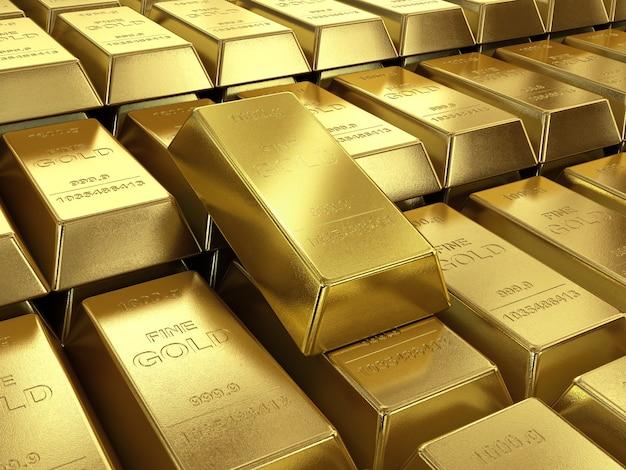 Lingotti d'oro da vicino di alta qualità
