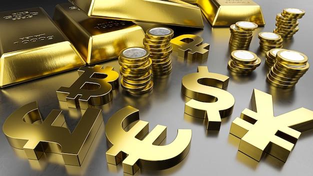 Lingotti d'oro e simboli di valuta d'oro. sfondo di borsa valori, bancario o finanziario.