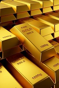 Lingotti d'oro per banner del sito web. rendering 3d di lingotti d'oro.
