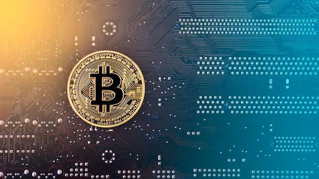 Bitcoin oro sul retro dell'immagine dai toni della scheda madre
