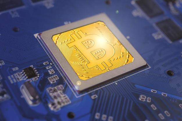 Scheda del processore del computer elettronico bitcoin gold