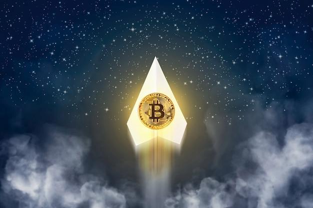 Crescita di bitcoin d'oro su aereo di carta che vola verso l'alto con fumo di inquinamento di notte e molti fondo stella della galassia, concetto di denaro virtuale di criptovaluta