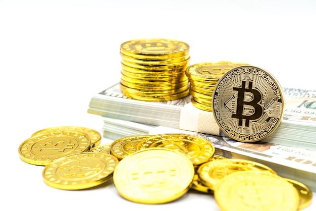 Bitcoin d'oro. nuovo denaro virtuale per il business della tecnologia blockchain.