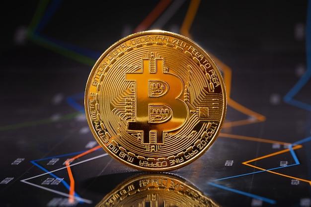 Bitcoin d'oro in piedi su statistiche e grafici finanziari su valori e prezzi di criptovaluta. denaro virtuale o criptovaluta blockchain.