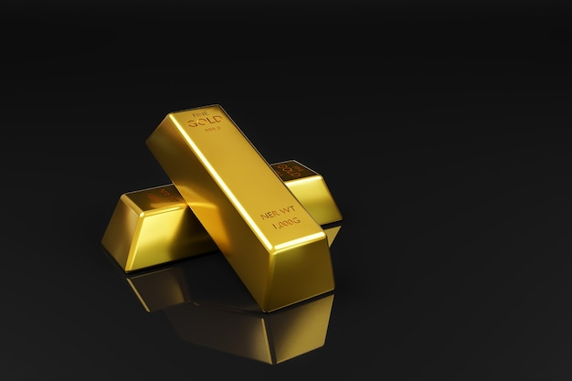 Oro su sfondo nero concetto di finanza e investimenti.