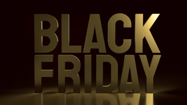 Il testo del black friday oro su nero per lo shopping natalizio rendering 3d.