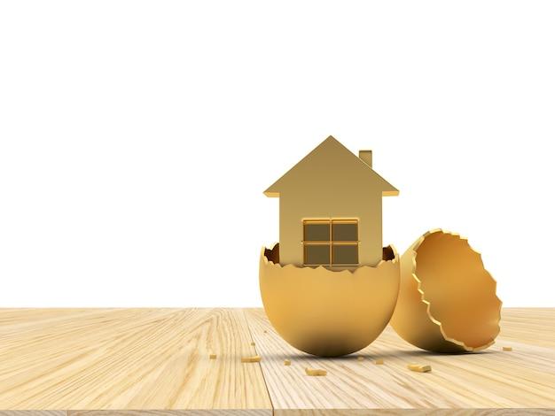 Guscio d'uovo rotto d'oro con l'icona della casa