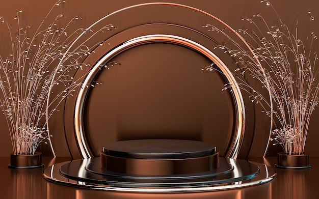Fondo del palco del podio a forma di cerchio geometrico astratto marrone oro per la promozione del prodotto 3d render