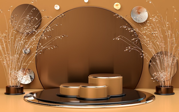 Il palco del podio di forma geometrica astratta marrone oro per la promozione del prodotto 3d rende lo sfondo di lusso