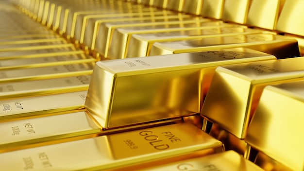 Sfondo di lingotti d'oro negli archivi d'oro.