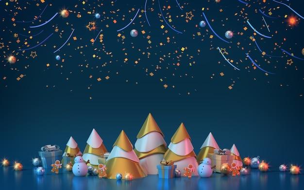 Albero di natale d'oro e regalo in sfondo blu con glitter