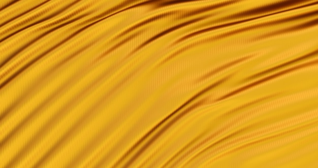 Panno d'oro, sfondo dorato liscio di lusso, raso di seta ondulato, rendering 3d