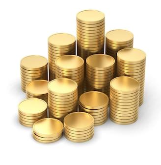 Moneta d'oro 3d isolato su sfondo bianco con tracciato di ritaglio.