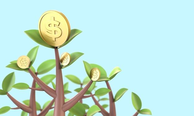 Crescita dell'albero della moneta di oro