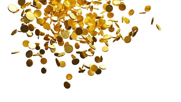 Monete d'oro che cadono su sfondo bianco con copia spazio