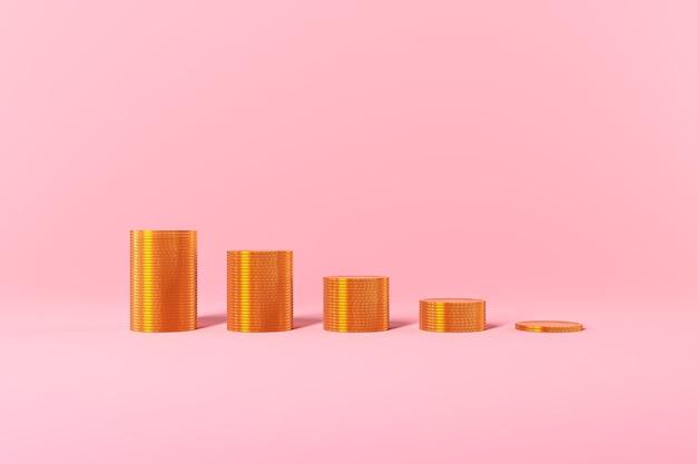Le monete d'oro grafico crescita profitto tasse prestiti su sfondo rosa