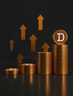 Pile di monete d'oro e una con una d su di essa, in cima con frecce d'oro rivolte verso l'alto su sfondo nero