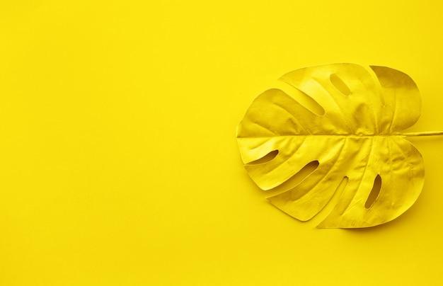 Colore oro di foglia tropicale con sfondo spazio copia