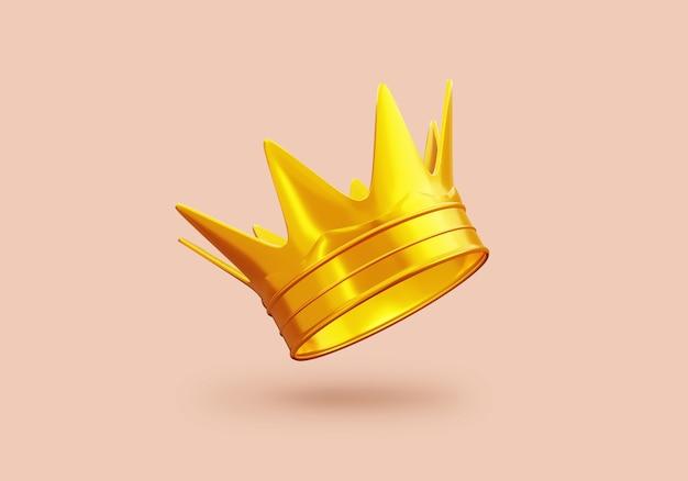 Corona d'oro con la vittoria o il concetto di successo corona di principe di lusso per la decorazione 3d rendering