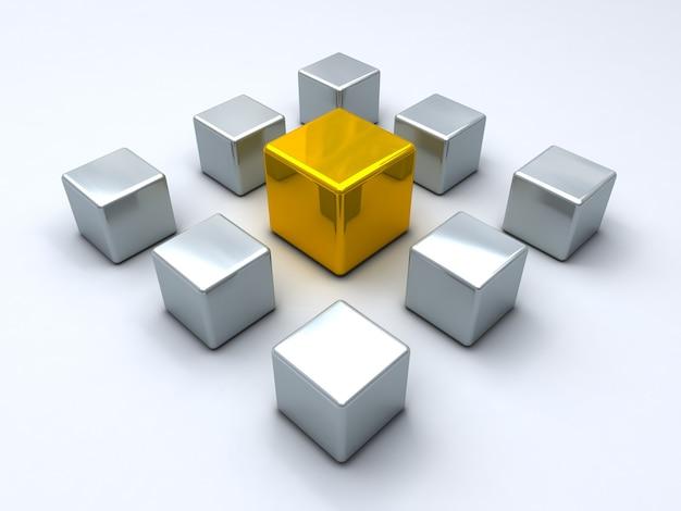 Cubo d'oro circondato da cubi d'acciaio concetto di leadership