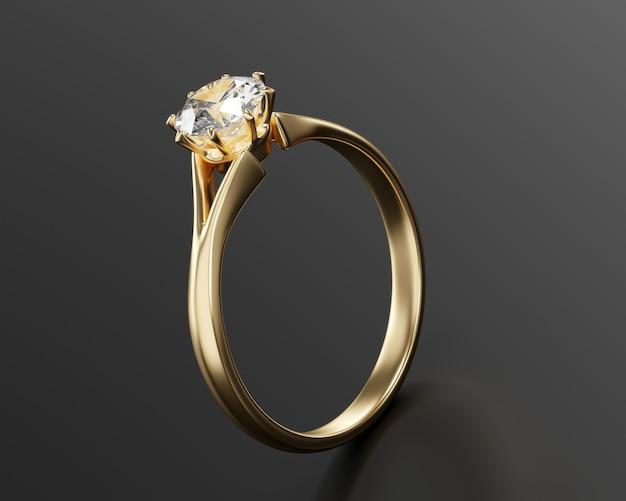 Anello con diamante in oro isolato su superficie nera 3d rendering