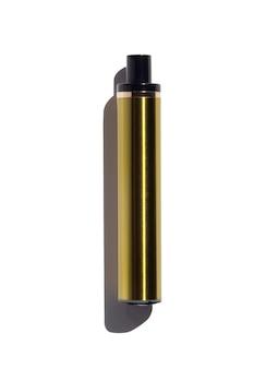 Sigaretta elettronica usa e getta oro isolata su sfondo bianco
