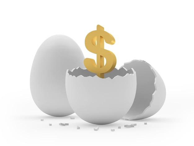 Simbolo del dollaro dell'oro in un uovo rotto.